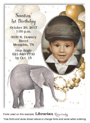 Gold Elephant Invitation Photo Birthday Magnet