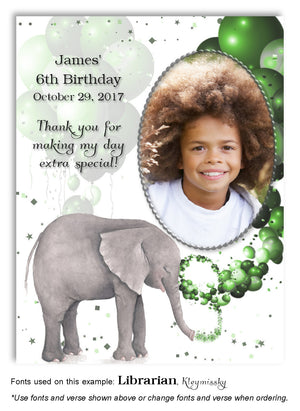 Green Elephant Thank You Photo Birthday Magnet