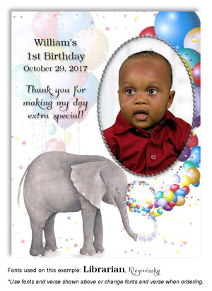 Multicolor Elephant Thank You Photo Birthday Magnet