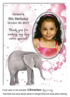 Pink Elephant Thank You Photo Birthday Magnet