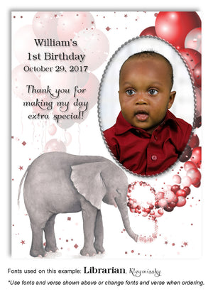 Red Elephant Thank You Photo Birthday Magnet