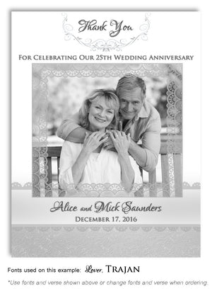 Black and White Scroll Lace Thank You Anniversary Photo Magnet