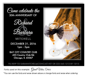 Gold Champagne Glasses - Invitation Anniversary Magnet