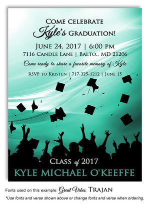 Aqua Hats Off Invitation Graduation Magnet