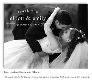 Black and White Thank You Wedding Photo Magnet
