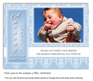 Blue Vintage Thank You Photo Baptism Magnet