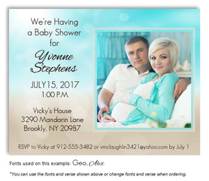 Cyan-Tan Two Tone Invitation Photo Baby Shower Magnet