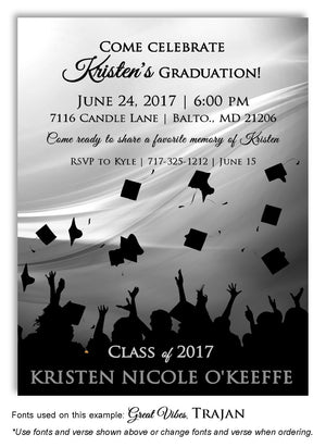 Gray Hats Off Invitation Graduation Magnet