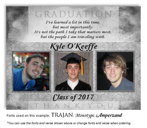Gray Thank You Photo Graduation Magnet