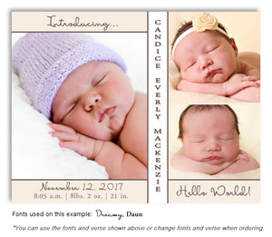 Ivory Photo Birth Announcement Magnet