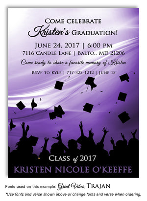 Lavender Hats Off Invitation Graduation Magnet