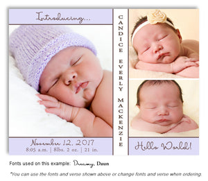 Lavender Photo Birth Announcement Magnet
