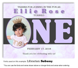 Lavender I'm One Thank You Photo Birthday Magnet