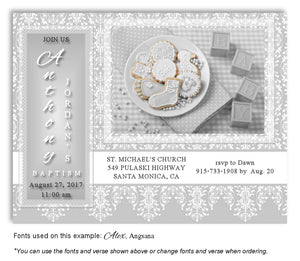 Light Gray Celebration Invitation Baptism | Christening Magnet