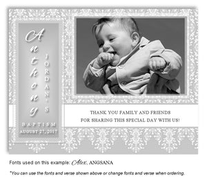 Light Gray Vintage Thank You Photo Baptism Magnet