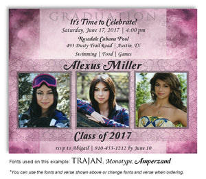 Mauve Invitation Photo Graduation Magnet