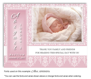 Pink Vintage Thank You Photo Baptism Magnet