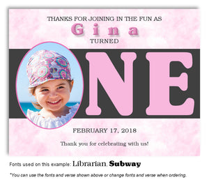 Pink I'm One Thank You Photo Birthday Magnet