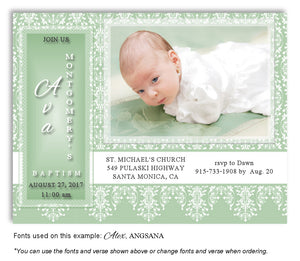Sage Green Vintage Invitation Photo Baptism Magnet