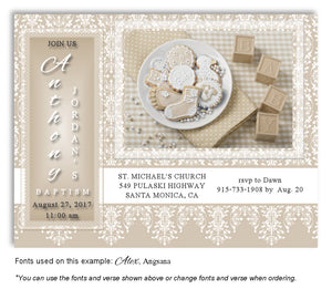 Tan Celebration Invitation Baptism | Christening Magnet