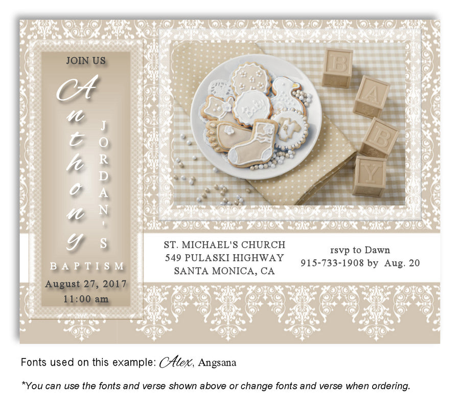 Sage Green Celebration Invitation Baptism | Christening Magnet