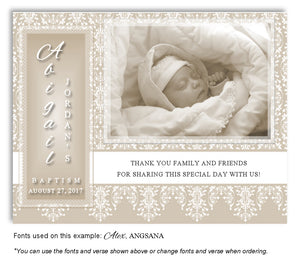 Taupe Vintage Thank You Photo Baptism Magnet