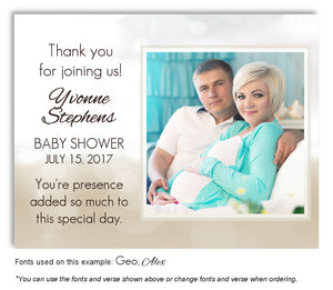 White-Tan Two Tone Thank You Photo Baby Shower Magnet