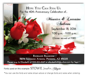40th Red Roses Invitation Anniversary Magnet