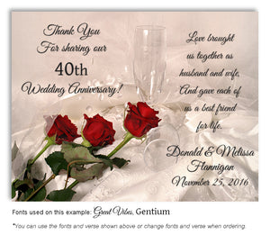 40th Red Elegant Roses - Thank You Anniversary Magnet