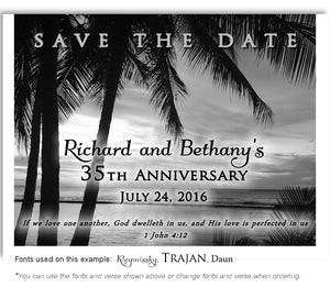 Black and White Still Tropical Waters Save the Date Anniversary Magnet