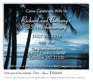 Evening Still Tropical Waters Anniversary Invitation Magnet