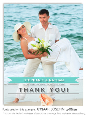 Aqua Thank You Wedding Photo Magnet