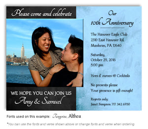 Black and Blue Simply Stated Invitation Anniversary Photo Magnet