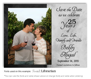 Black and Silver Simply Stated Save the Date Anniversary Photo Magnet