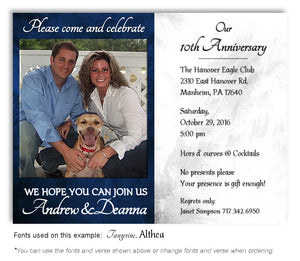 Blue and White Simply Stated Invitation Anniversary Photo Magnet