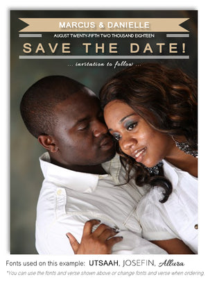 Cream Save the Date Wedding Photo Magnet