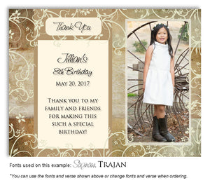 Gold Floral Blocks Thank You Photo Birthday Magnet