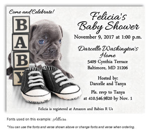 Gray Puppy Love Invitation Baby Shower Magnet