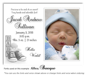 Gray Photo Birth Announcement Magnet