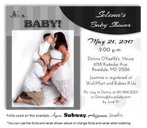 Gray Stripes-Polka Dots Invitation Photo Baby Shower Magnet