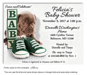 Dark Green Puppy Love Invitation Baby Shower Magnet
