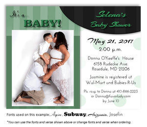 Green Stripes-Polka Dots Invitation Photo Baby Shower Magnet