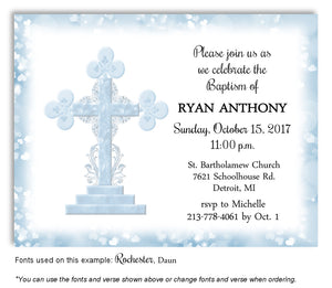 Light Blue Ornamental Cross Invitation Baptism | Christening Magnet