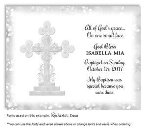 Light Gray Ornamental Cross Thank You Baptism | Christening Magnet