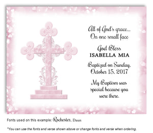 Light Pink Ornamental Cross Thank You Baptism | Christening Magnet