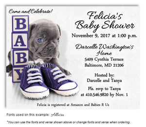 Deep Purple Puppy Love Invitation Baby Shower Magnet