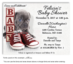 Red Puppy Love Invitation Baby Shower Magnet