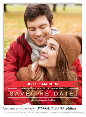 Red Save the Date Wedding Photo Magnet