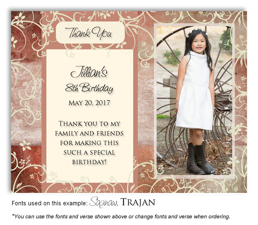 Pink-Violet Floral Blocks Invitation Photo Birthday Magnet
