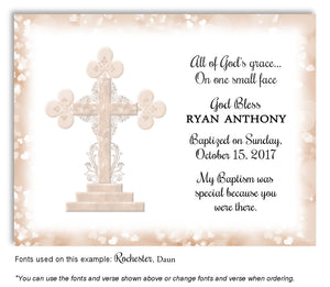 Tan Ornamental Cross Thank You Baptism | Christening Magnet